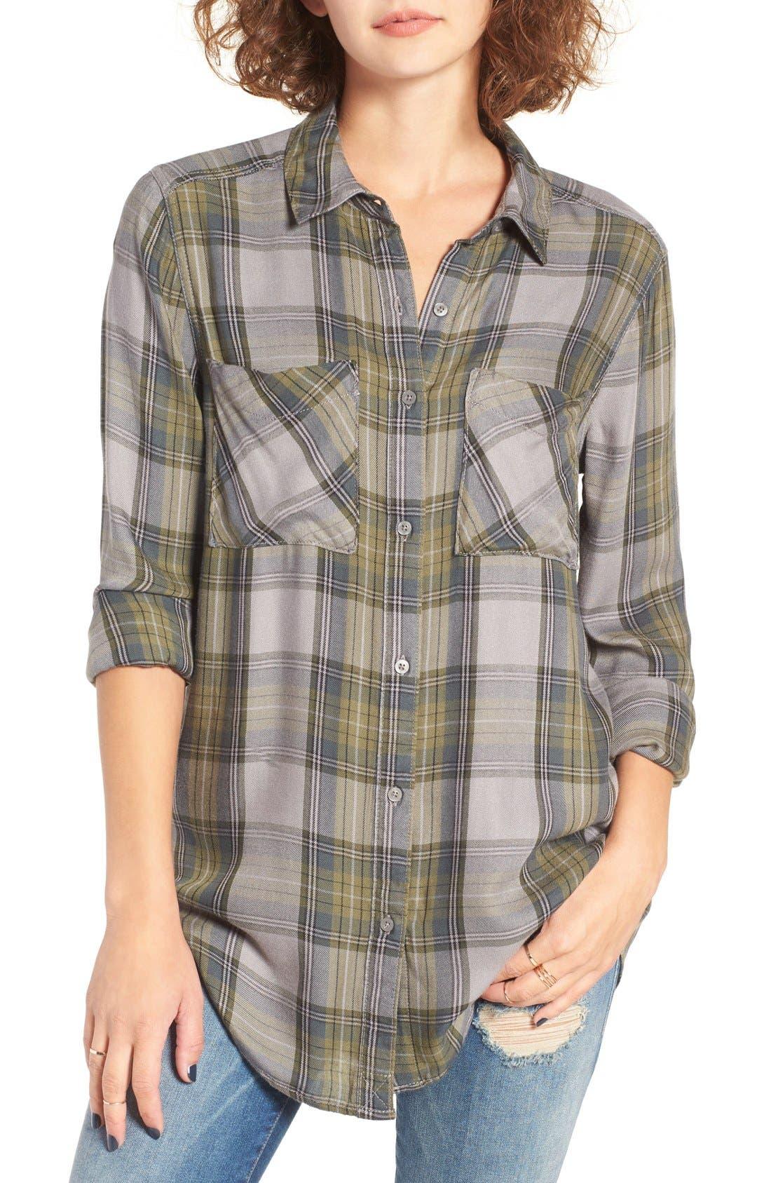 ,                             Plaid Tunic Shirt,                             Main thumbnail 13, color,                             030