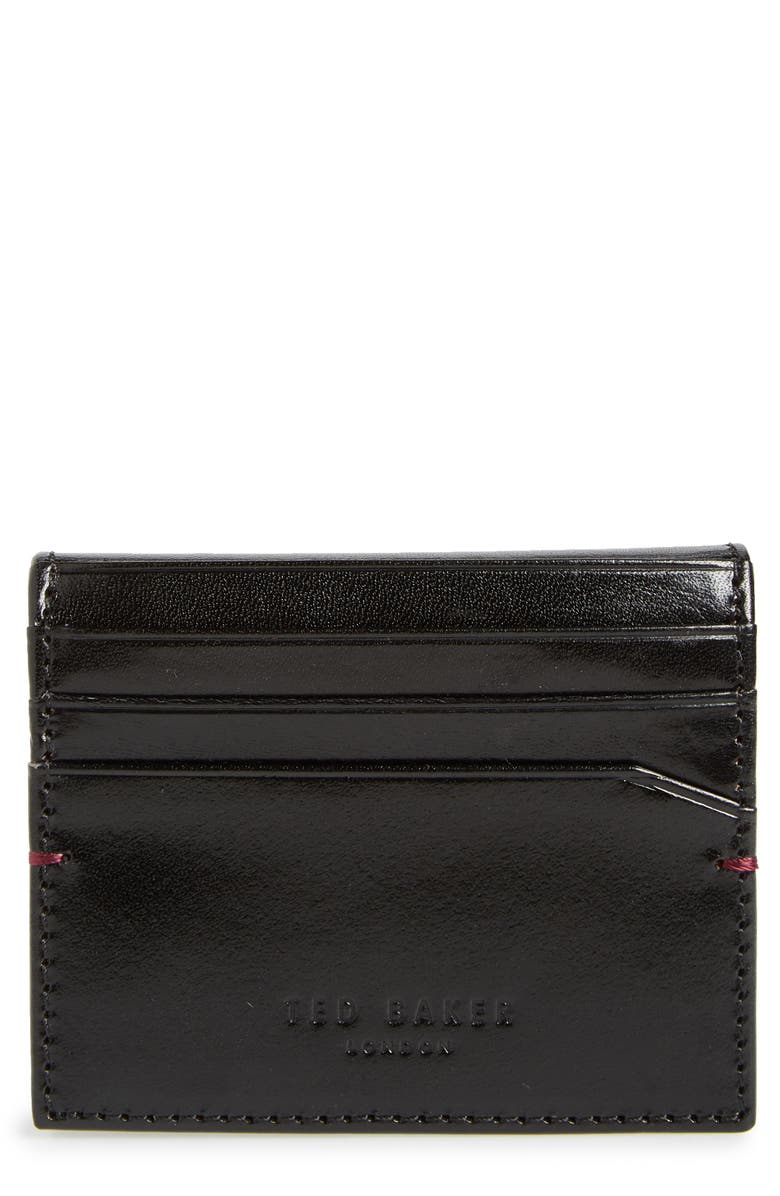 TED BAKER LONDON Contrast Internals Leather Card Case, Main, color, 001