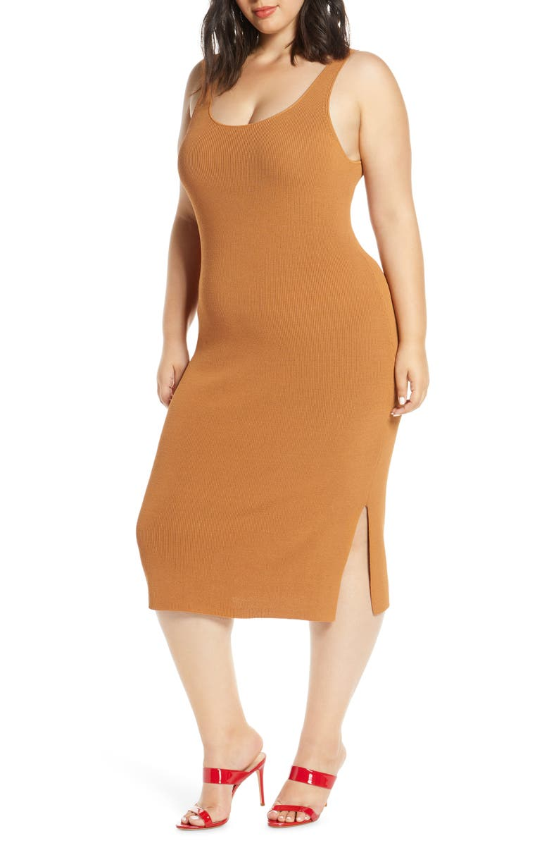 LEITH Sleeveless Sweater Dress, Main, color, TAN LION