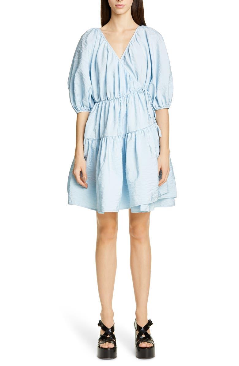 CECILIE BAHNSEN Susannah Wrap Dress, Main, color, LIGHT BLUE