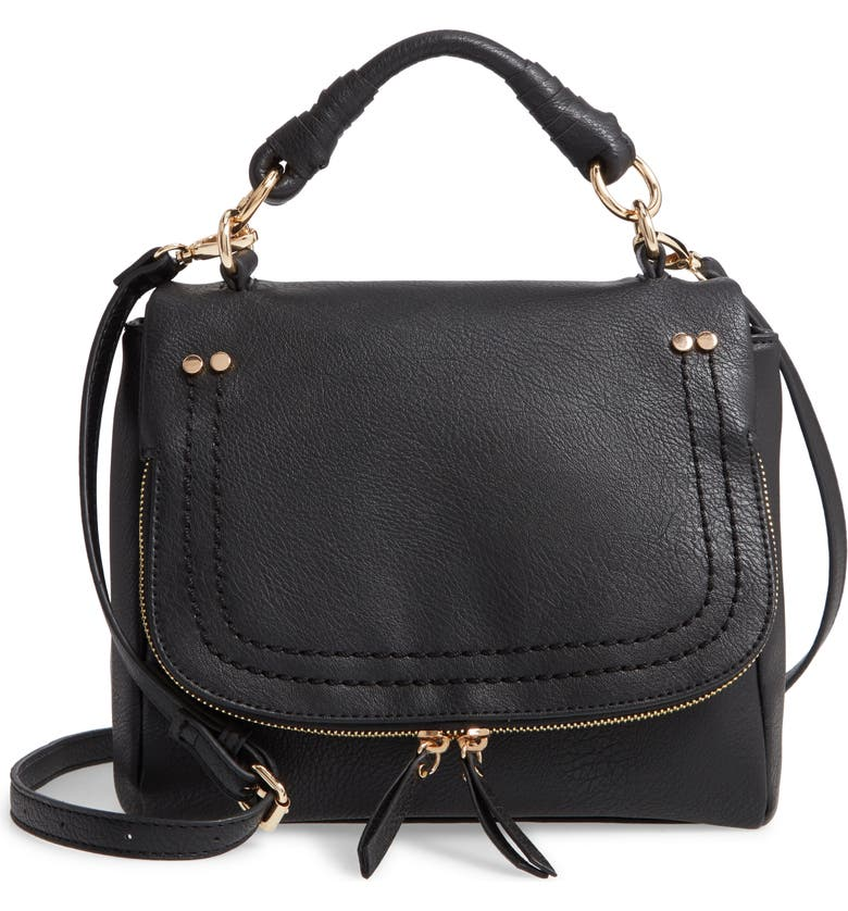 SOLE SOCIETY Mini Rubie Faux Leather Crossbody Bag, Main, color, 001