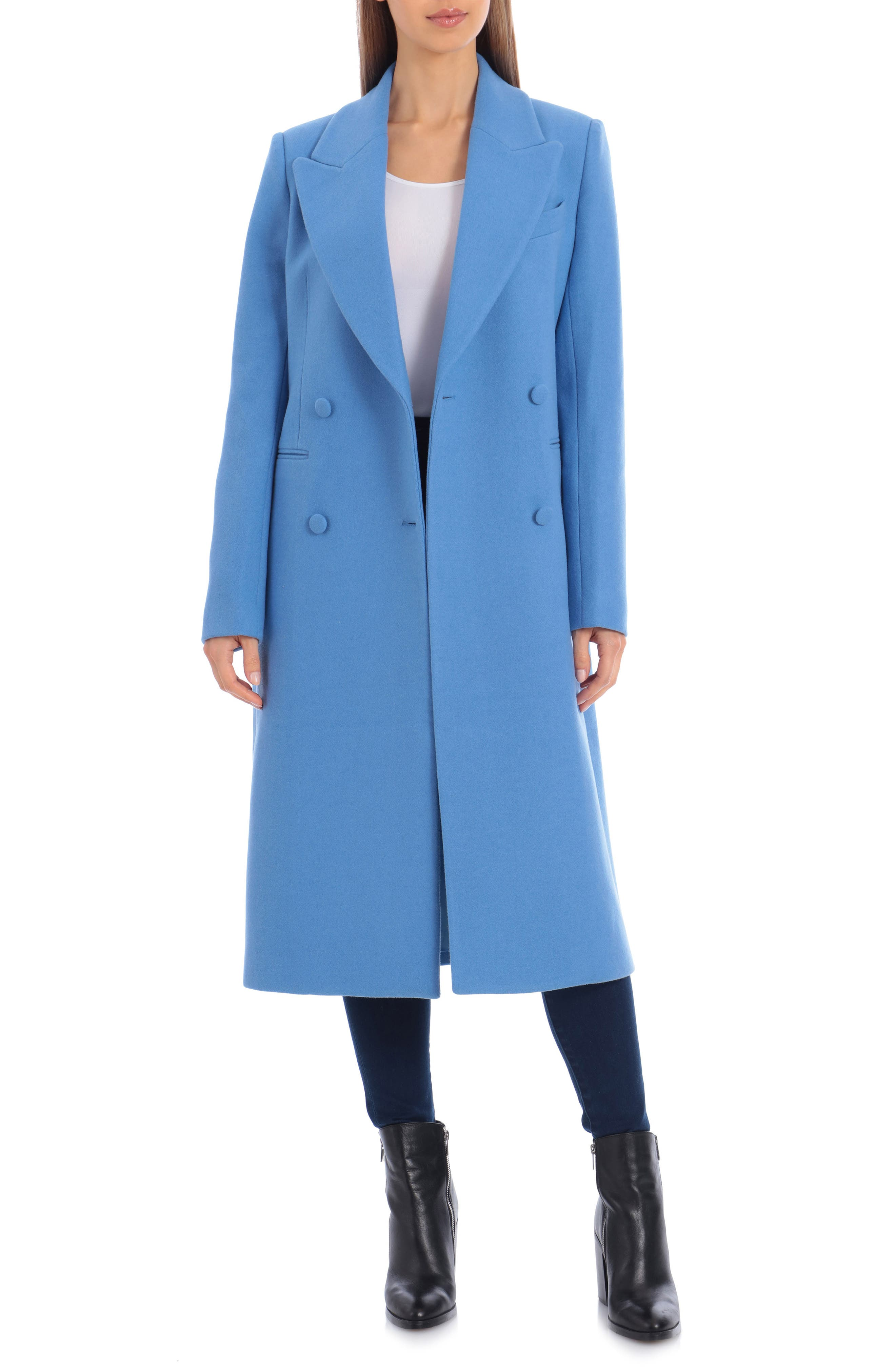 1950s Jackets, Coats, Bolero | Swing, Pin Up, Rockabilly Womens Avec Les Filles Double Breasted Wool Blend Coat Size X-Small - Blue $149.92 AT vintagedancer.com