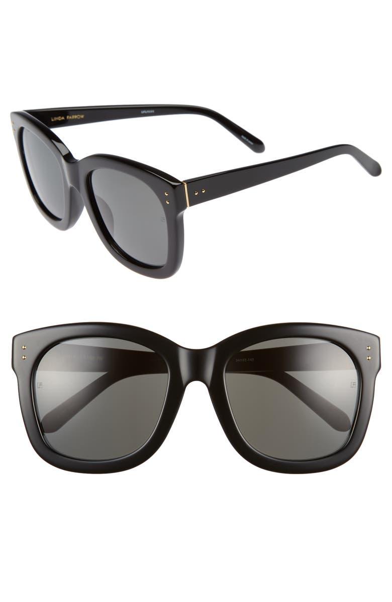 LINDA FARROW 56mm Square Sunglasses, Main, color, BLACK/ YELLOW GOLD/ GREY