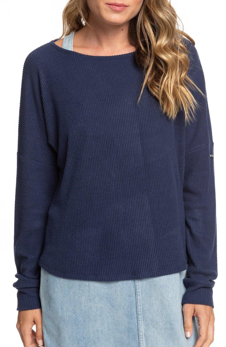 ROXY Everyday Rib Pullover, Main, color, MOOD INDIGO