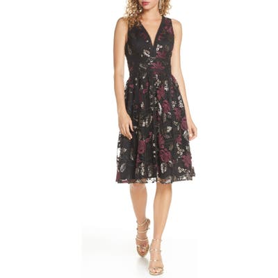 Harlyn Embroidered Fit & Flare Cocktail Dress, Grey