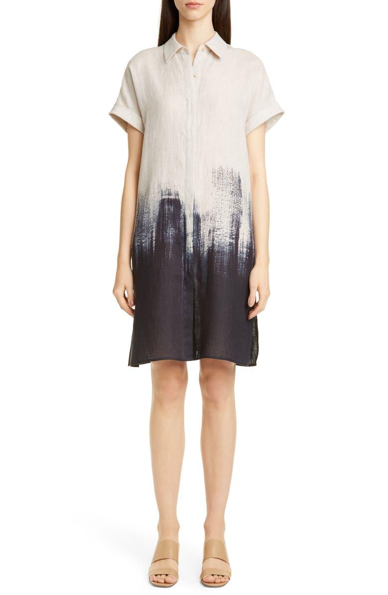 LAFAYETTE 148 NEW YORK Jasarah Linen Shirtdress, Main, color, DUNGAREE BLUE MULTI