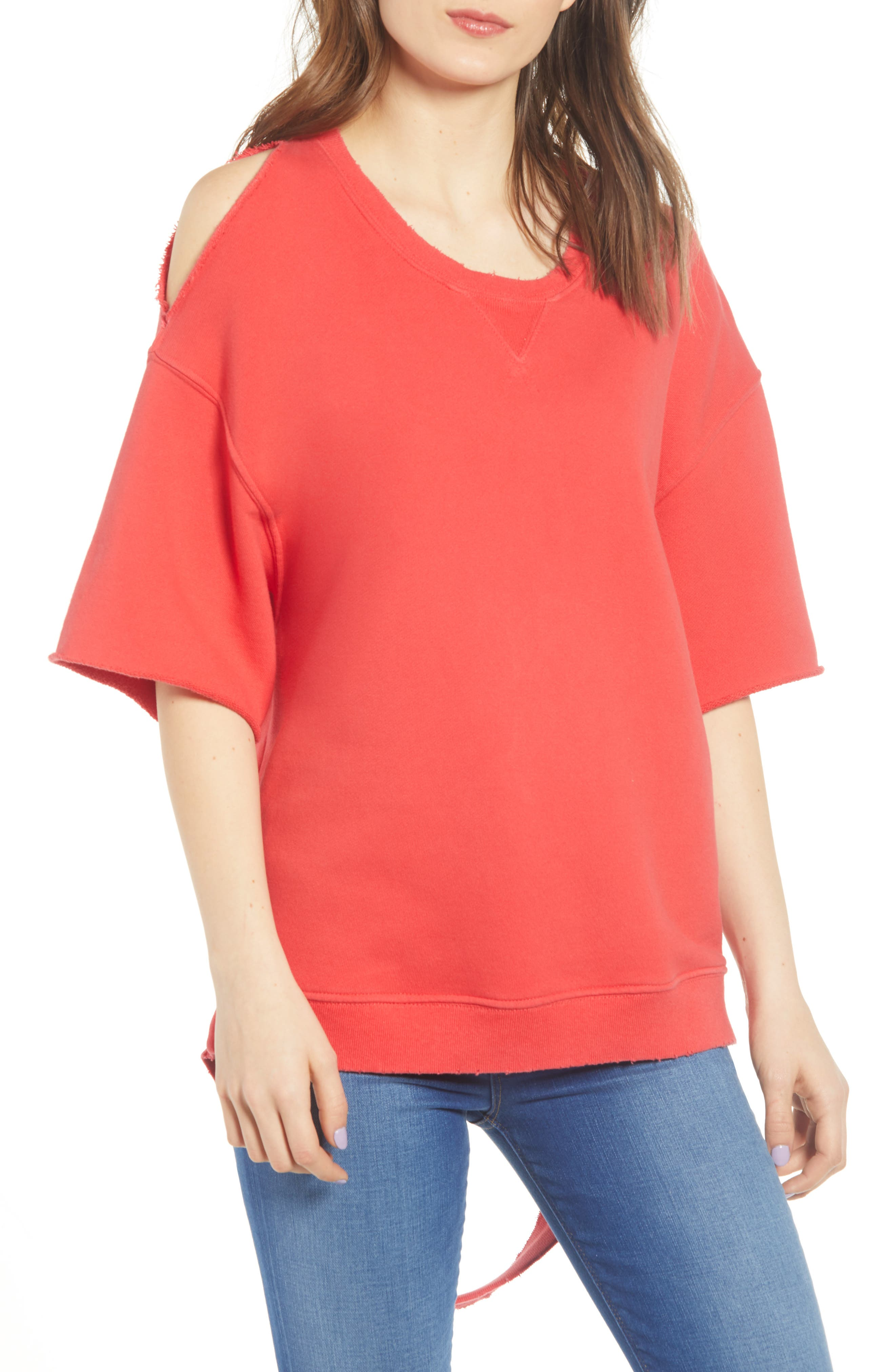 Hudson Jeans Cutout Sweatshirt, Red