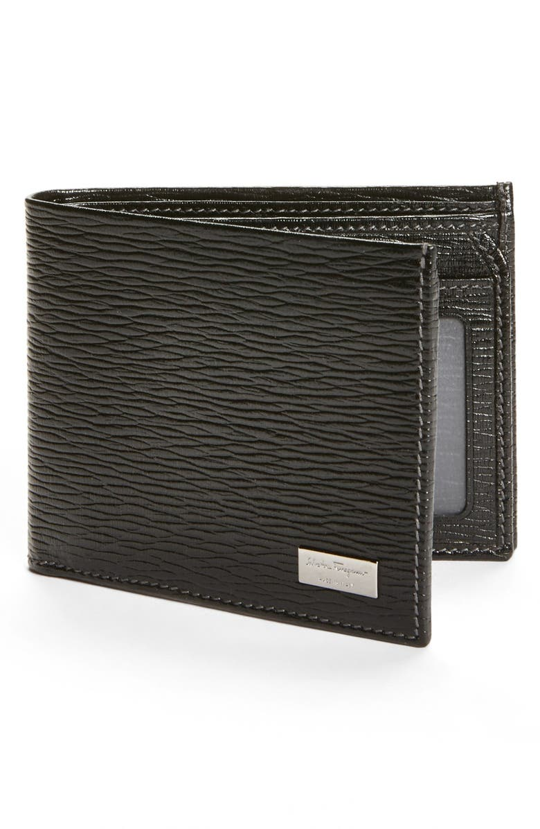 SALVATORE FERRAGAMO Stamped Calf Wallet, Main, color, BLACK