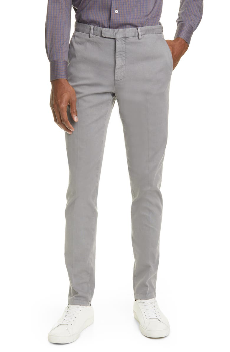 BOGLIOLI Slim Fit Grey Stretch Cotton Hopsack Trousers, Main, color, GREY