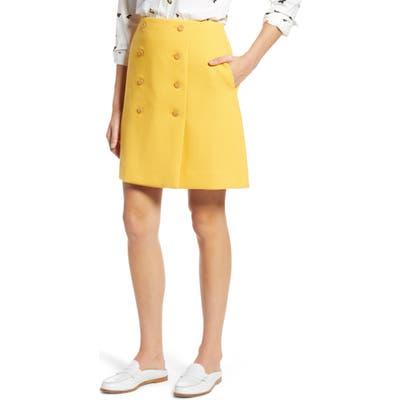 Petite 1901 Double Button Skirt, Yellow