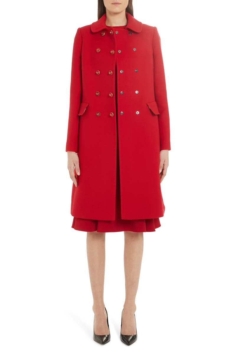 DOLCE&GABBANA Logo Snap Double Breasted Wool Coat, Main, color, BORDEAUX