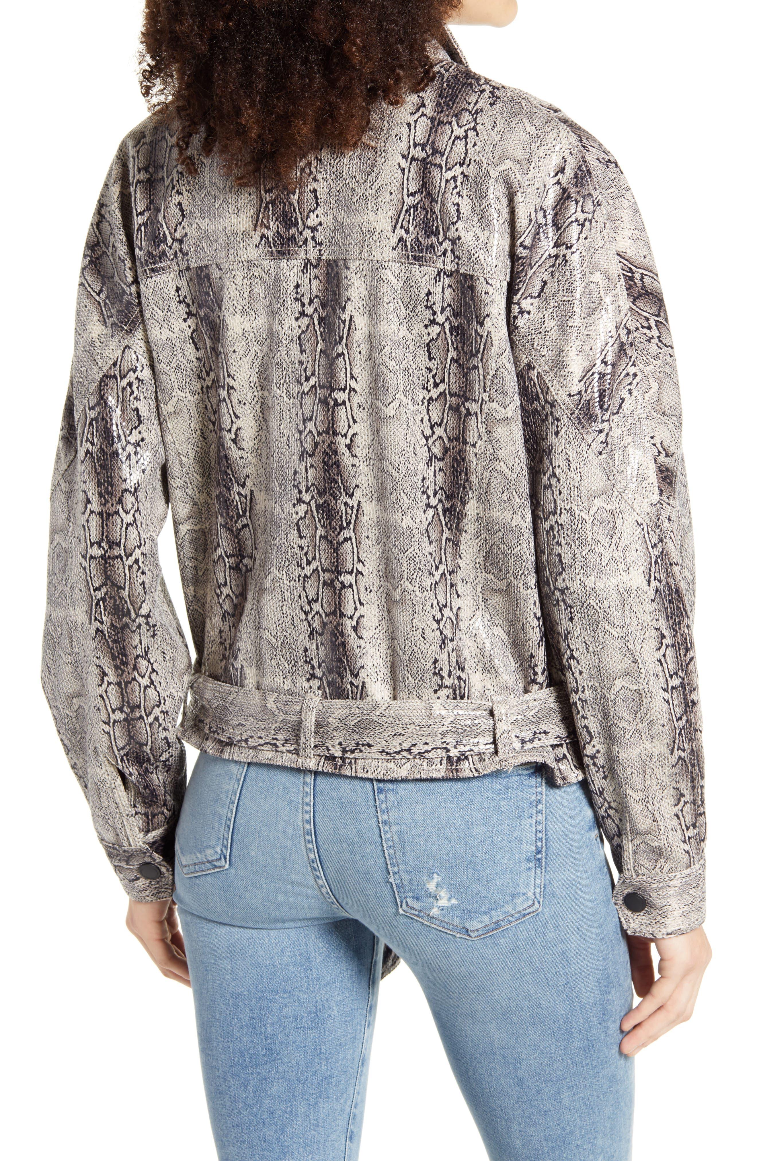 Women's Blanknyc Faux Snakeskin Jacket, Size Medium - Grey