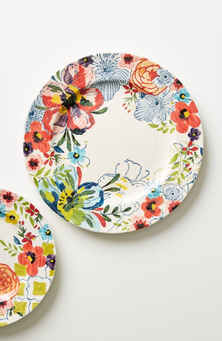 ANTHROPOLOGIE Sissinghurst Castle Dinner Plate, Main, color, NAVY MULTI