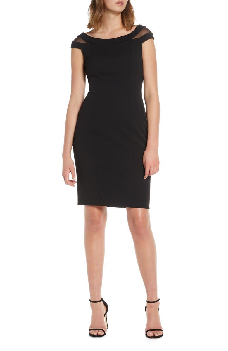 VINCE CAMUTO Mesh Inset Sheath Dress, Main, color, BLACK