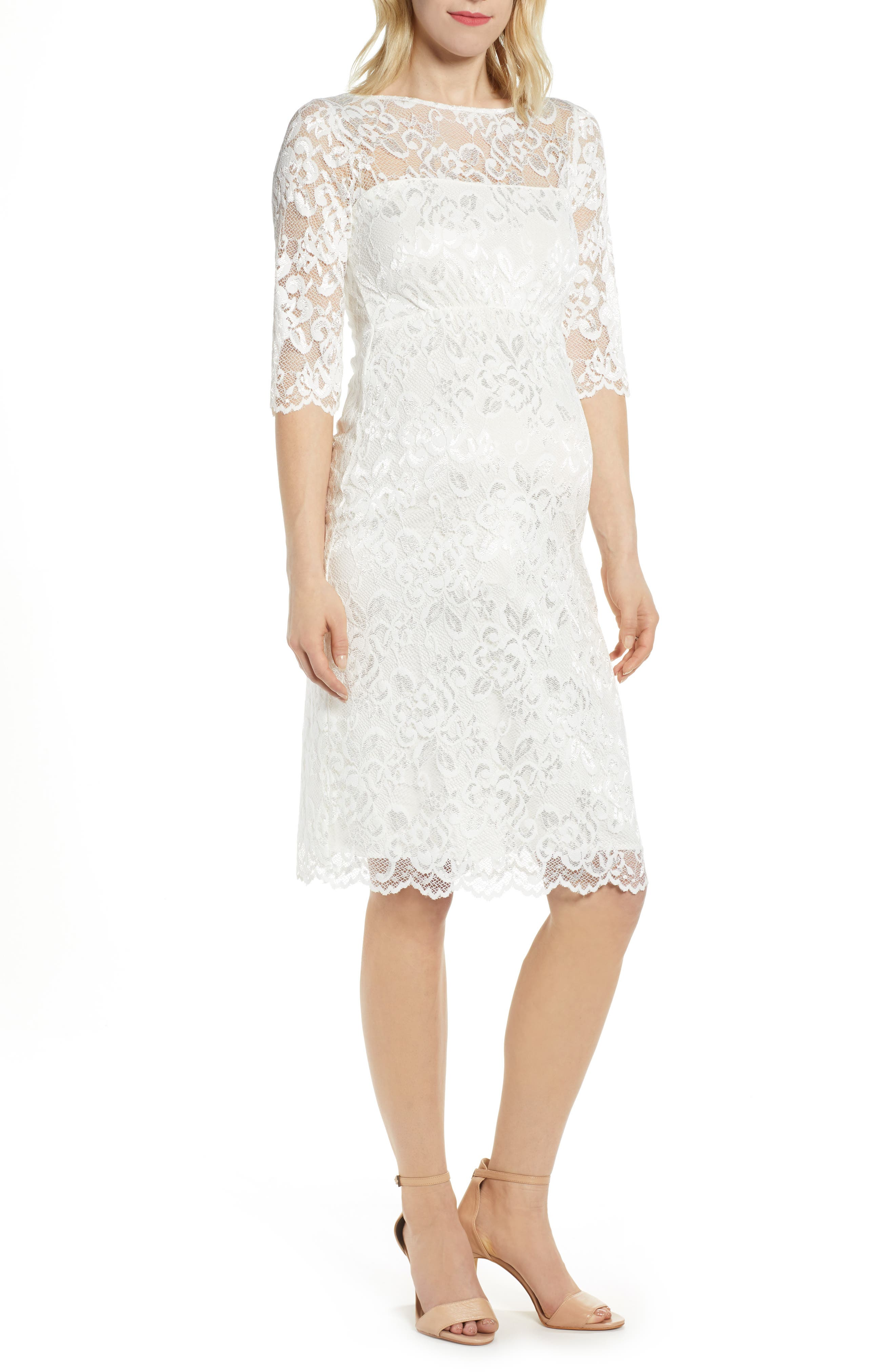 Tiffany Rose Amelia Lace Maternity Sheath Dress, White