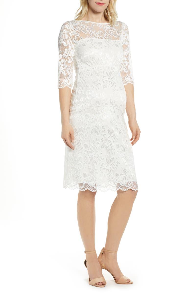 TIFFANY ROSE Amelia Lace Maternity Sheath Wedding Dress, Main, color, WHITE