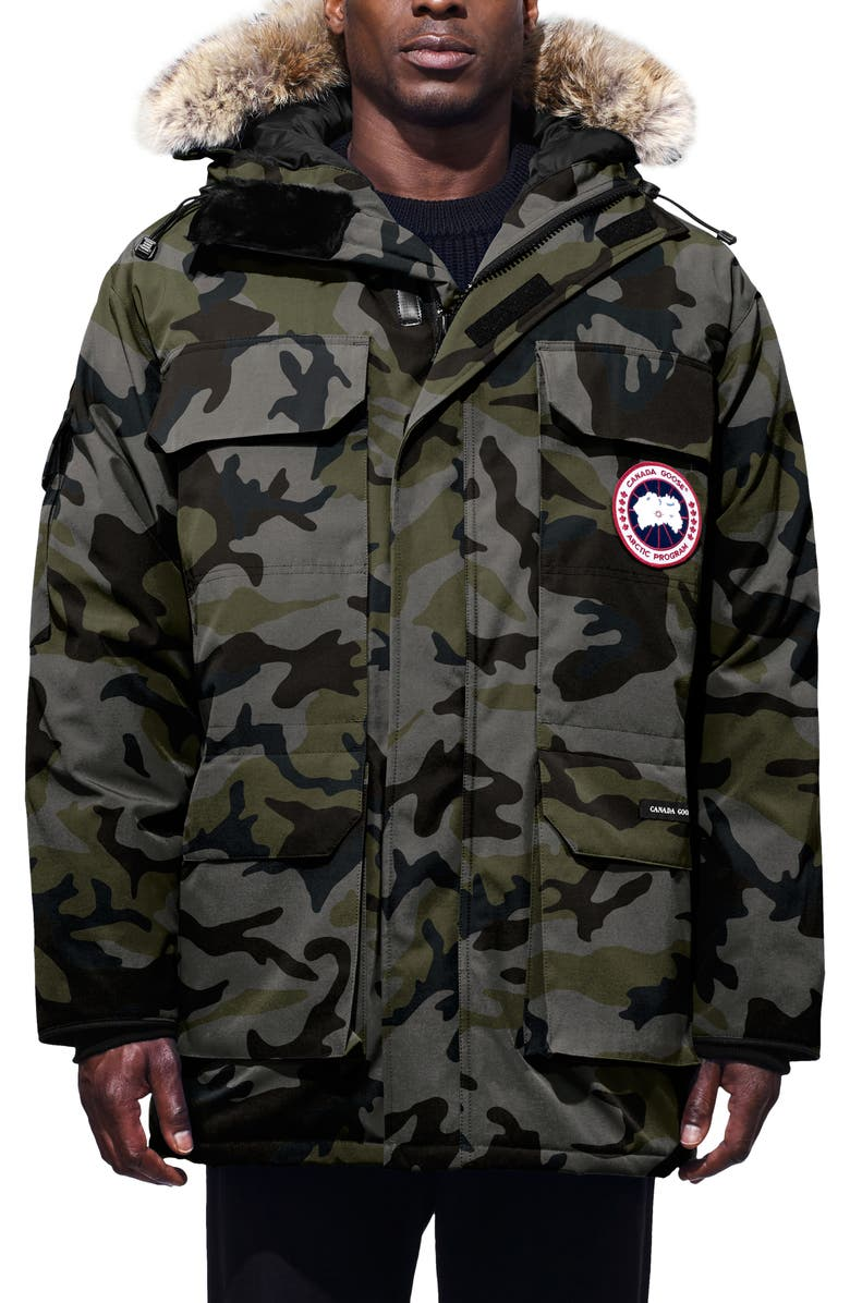 CANADA GOOSE Expedition Extreme Weather 625 Fill Power Down Parka with Genuine Coyote Fur Trim, Main, color, CLASSIC CAMO COASTAL GREY