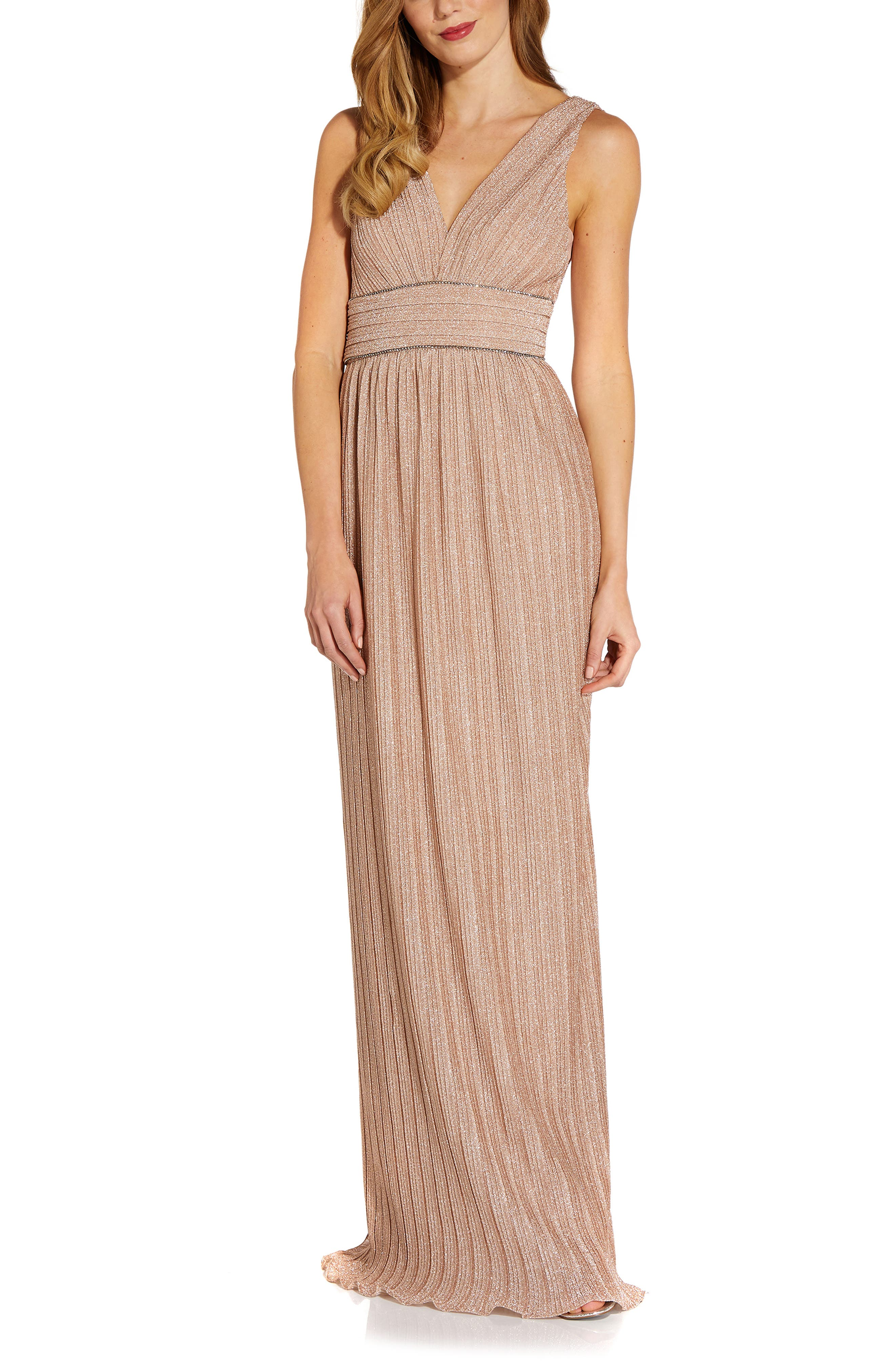 Pleated Embellished Waist Metallic Maxi Gown