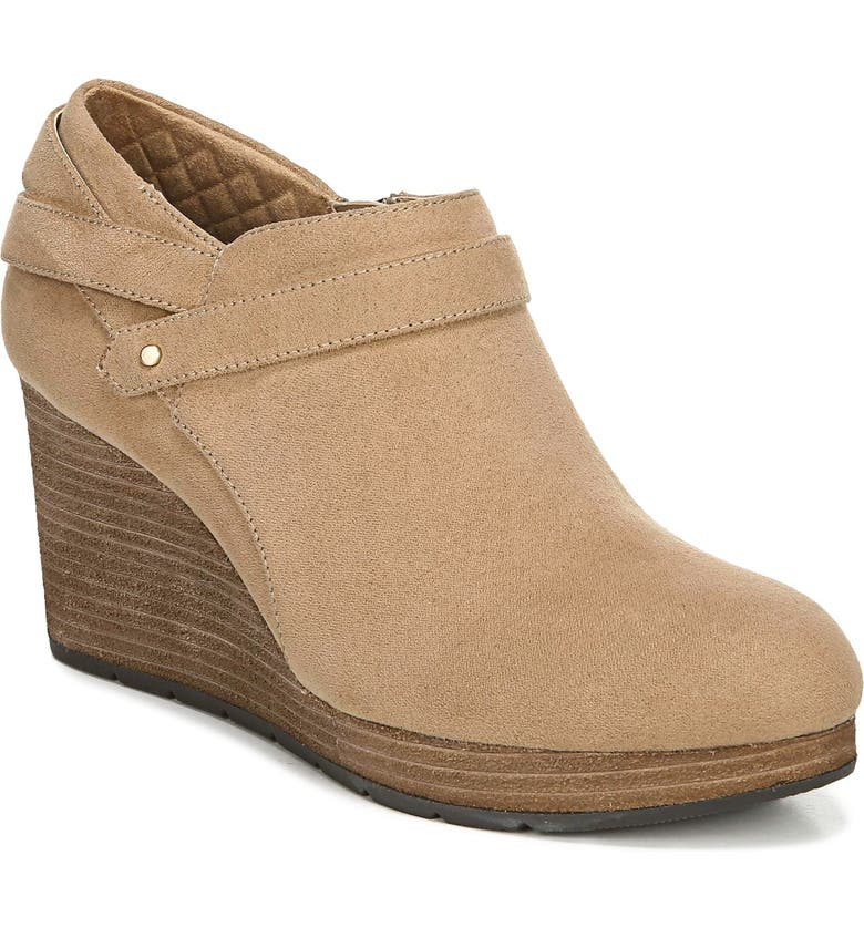 DR. SCHOLL'S What's Good Wedge Bootie, Main, color, NUDE FABRIC