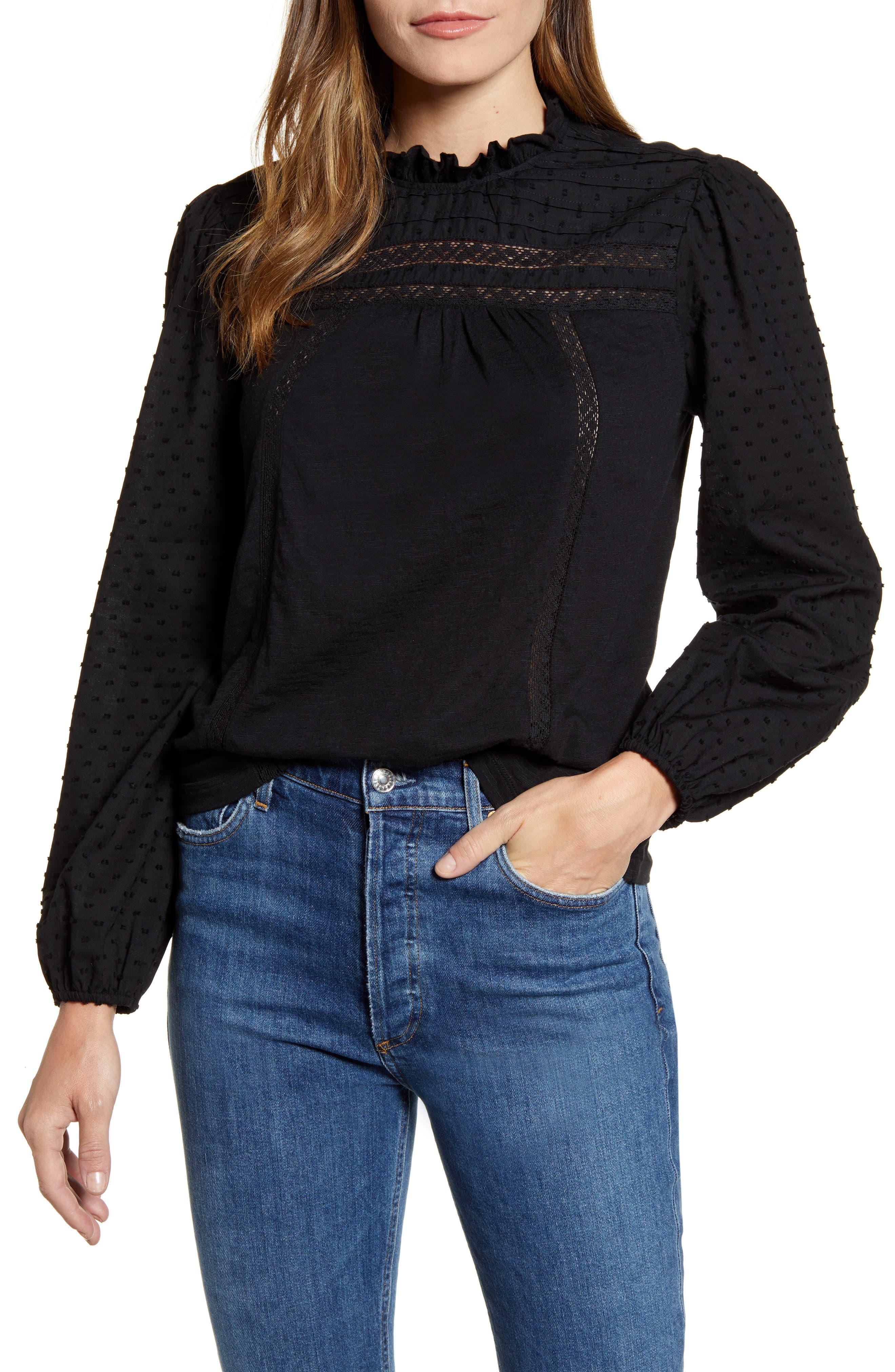Victorian Blouses, Tops, Shirts, Sweaters Womens Caslon Pintuck Lace Detail Long Sleeve Cotton Blouse $35.00 AT vintagedancer.com