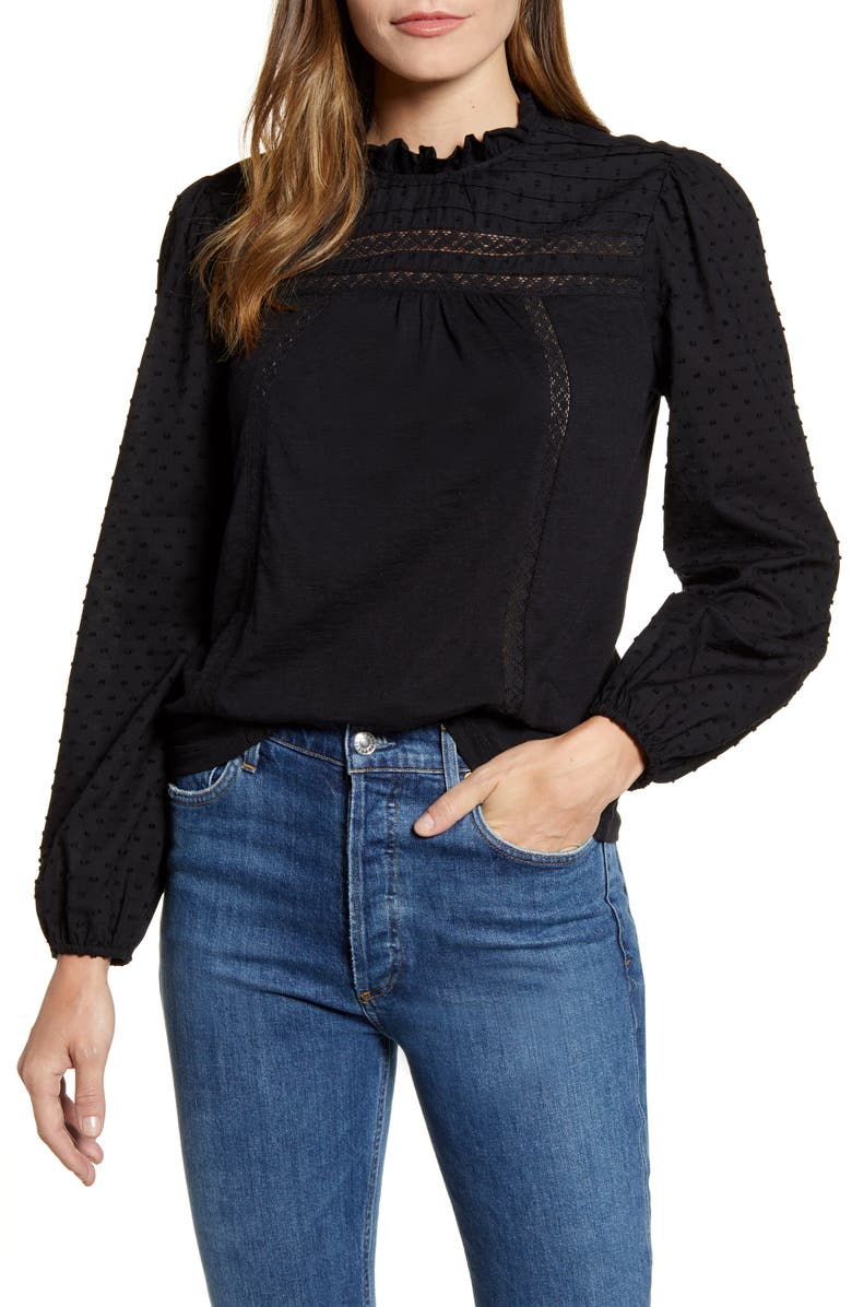 CASLON<SUP>®</SUP> Pintuck Lace Detail Long Sleeve Cotton Blouse, Main, color, BLACK