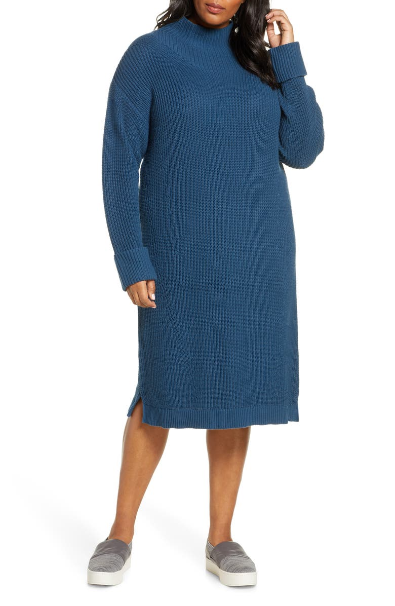 CASLON<SUP>®</SUP> Ribbed Sweater Dress, Main, color, BLUE WING