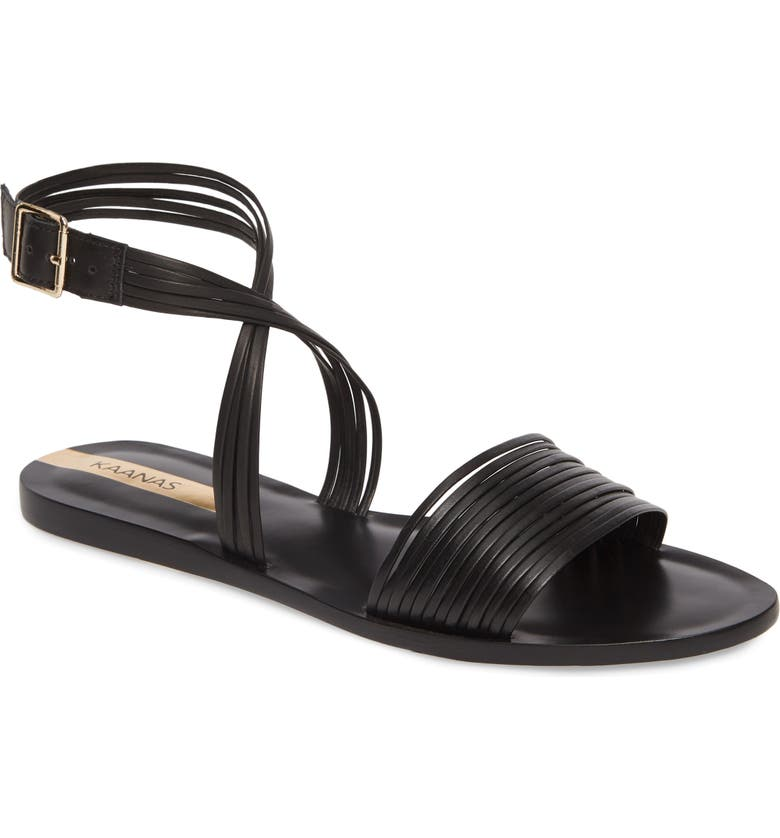 KAANAS Copacabana Ankle Strap Sandal, Main, color, BLACK