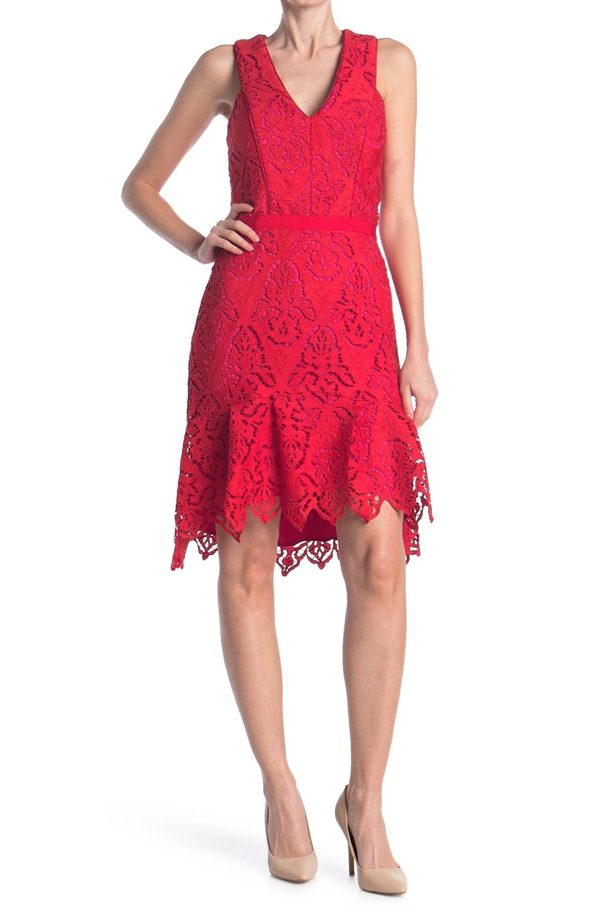 Image of Adelyn Rae Damion High/Low Lace Dress
