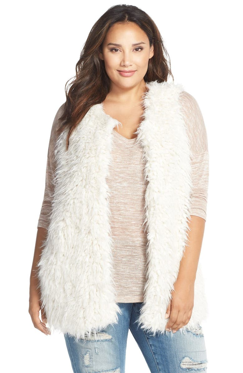 TWO BY VINCE CAMUTO Oversized Shaggy Faux Fur Vest, Main, color, 108