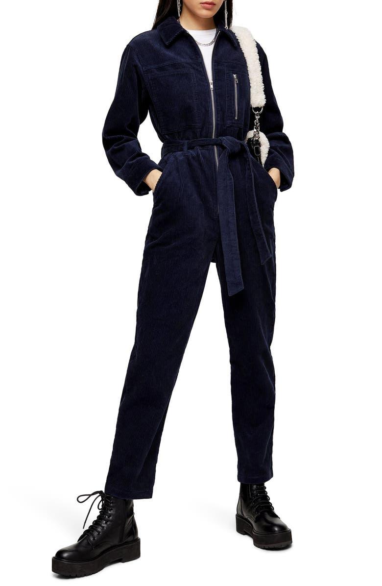 TOPSHOP Corduroy Zip Boilersuit, Main, color, NAVY BLUE