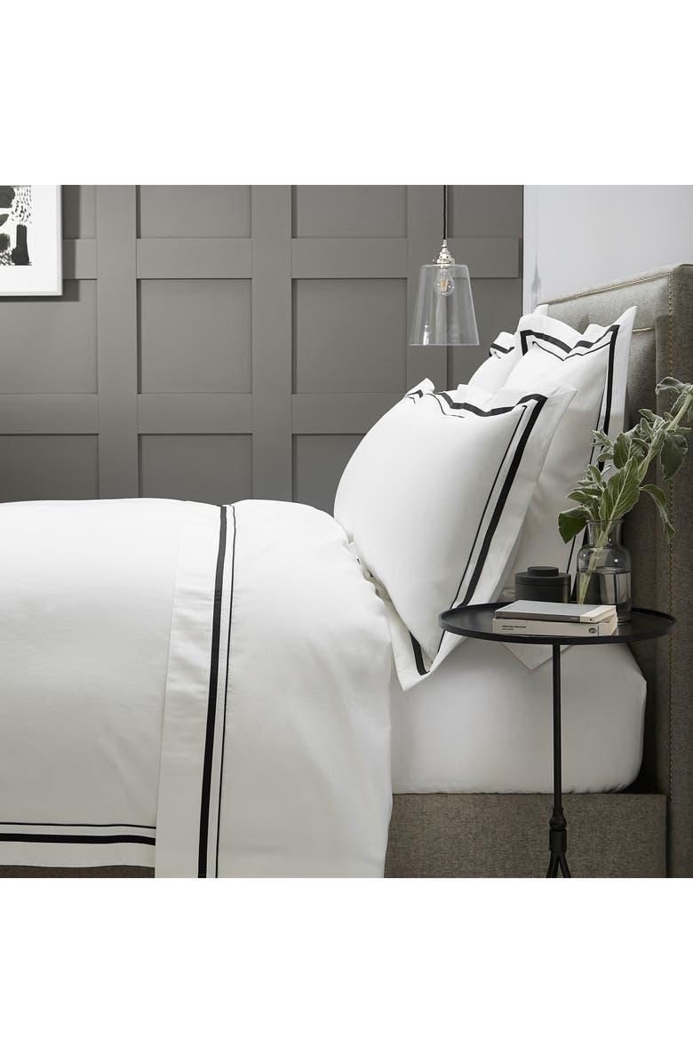 THE WHITE COMPANY Cavendish Duvet Cover, Main, color, WHITE/ BLACK