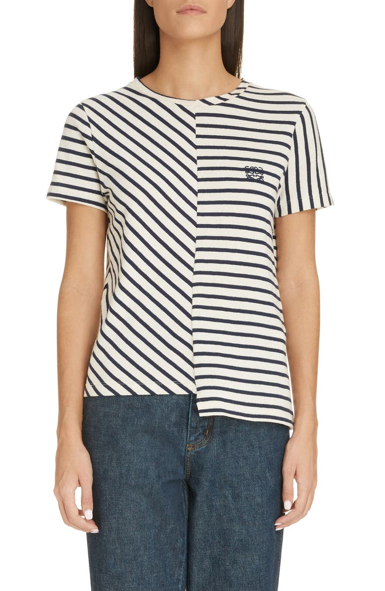 LOEWE Asymmetrical Hem Stripe Tee, Main, color, NAVY/ WHITE
