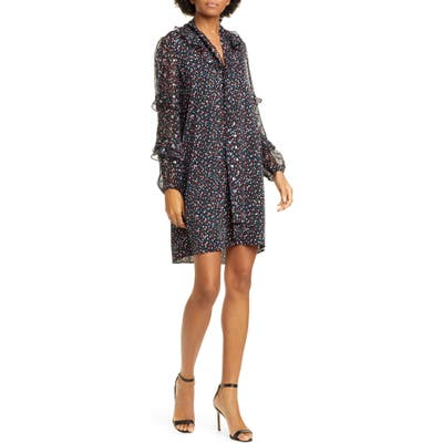 Dvf Amalie Confetti & Metallic Dot Long Sleeve Stretch Silk Chiffon Dress, Black