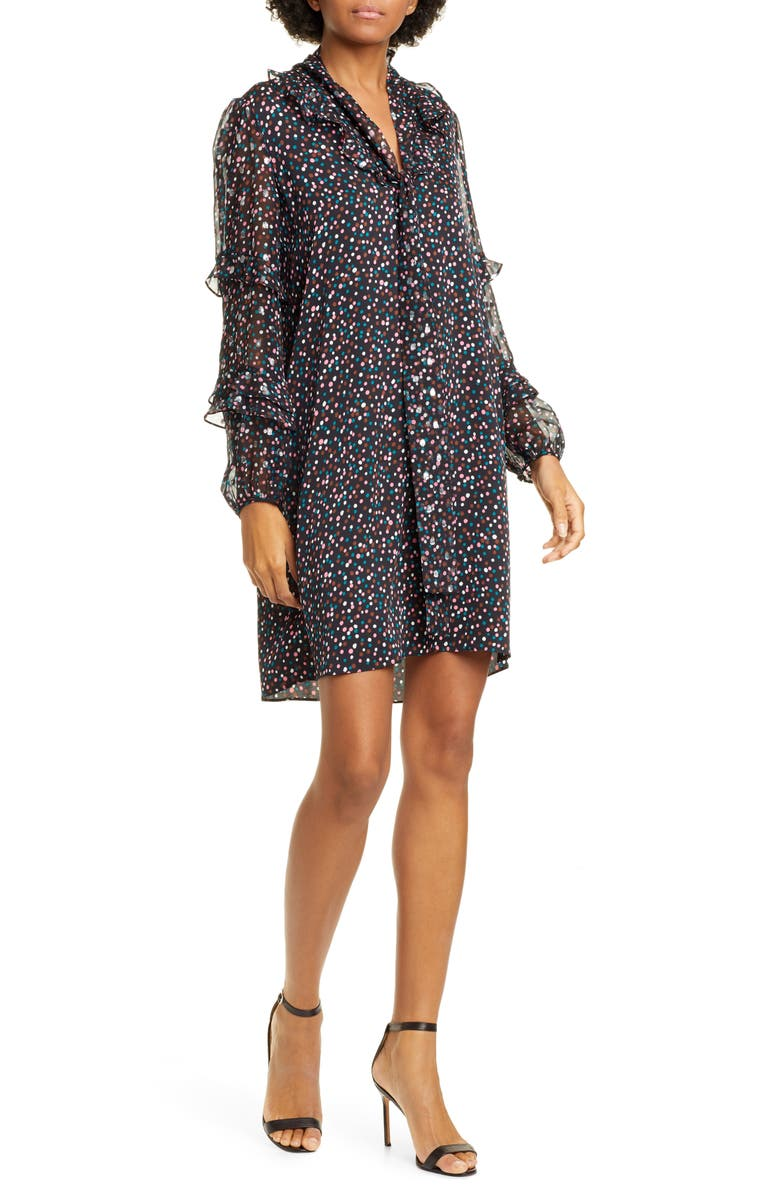 DVF Amalie Confetti & Metallic Dot Long Sleeve Stretch Silk Chiffon Dress, Main, color, CONFETTI DOTS BLACK
