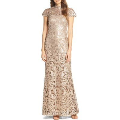 Tadashi Shoji Embellished Mesh Evening Dress, Beige