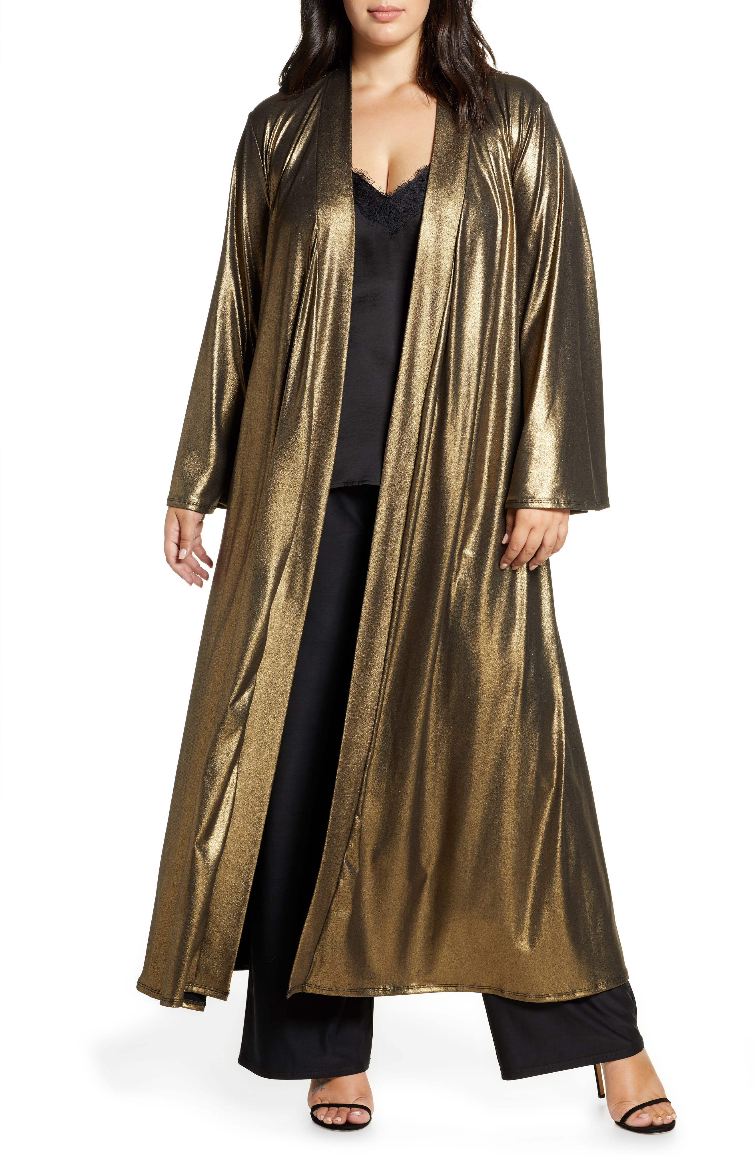 Vintage Coats & Jackets   Retro Coats and Jackets Plus Size Womens Coldesina Dylan Metallic Duster $98.00 AT vintagedancer.com