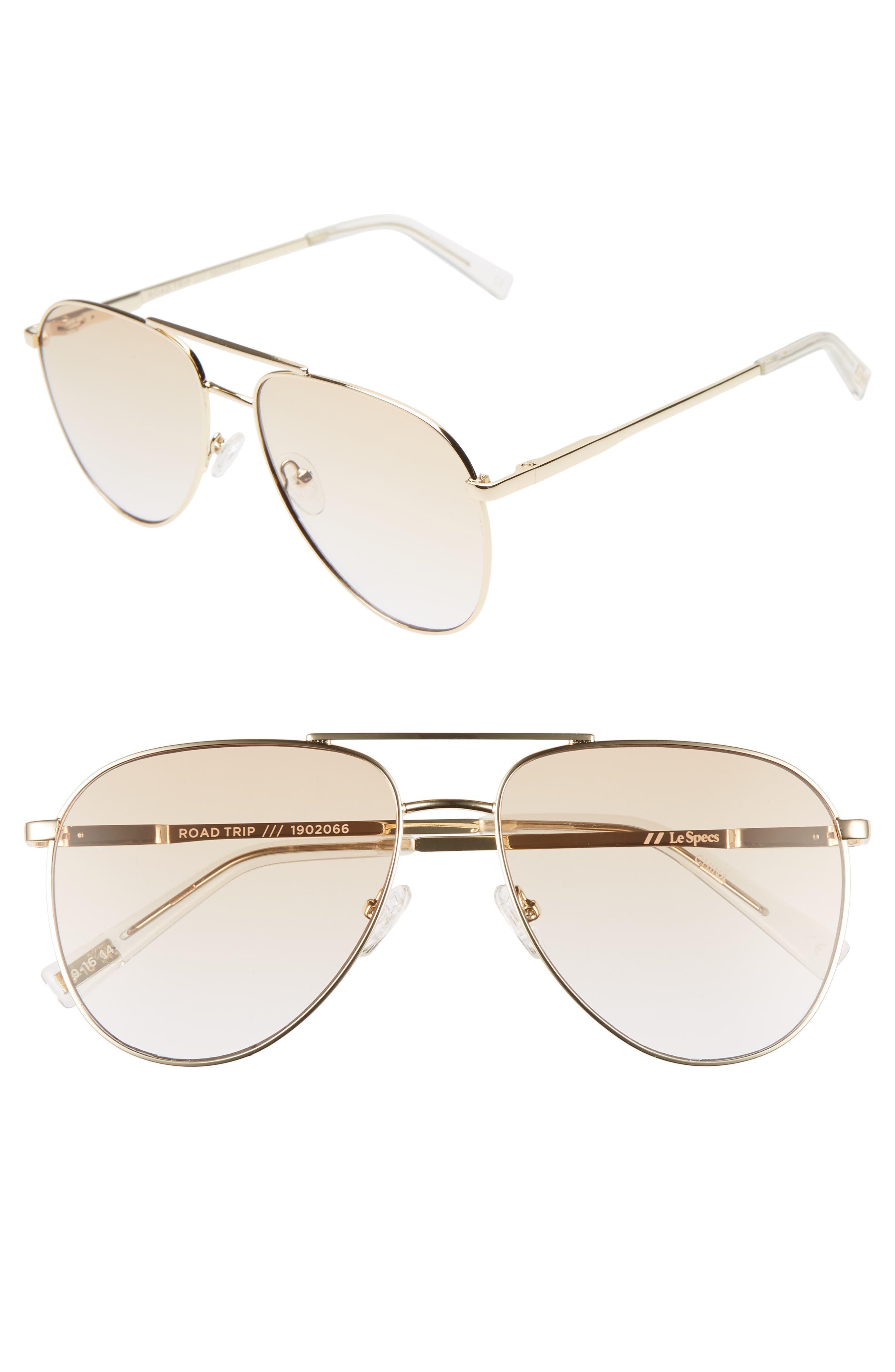 Le Specs Road Trip 5m Aviator Sunglasses - Gold/ Tan Gradient Flash
