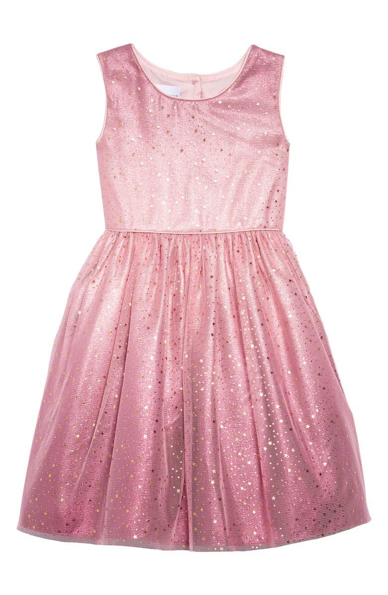 FRAIS Ombré Star Tulle Dress, Main, color, MED PINK