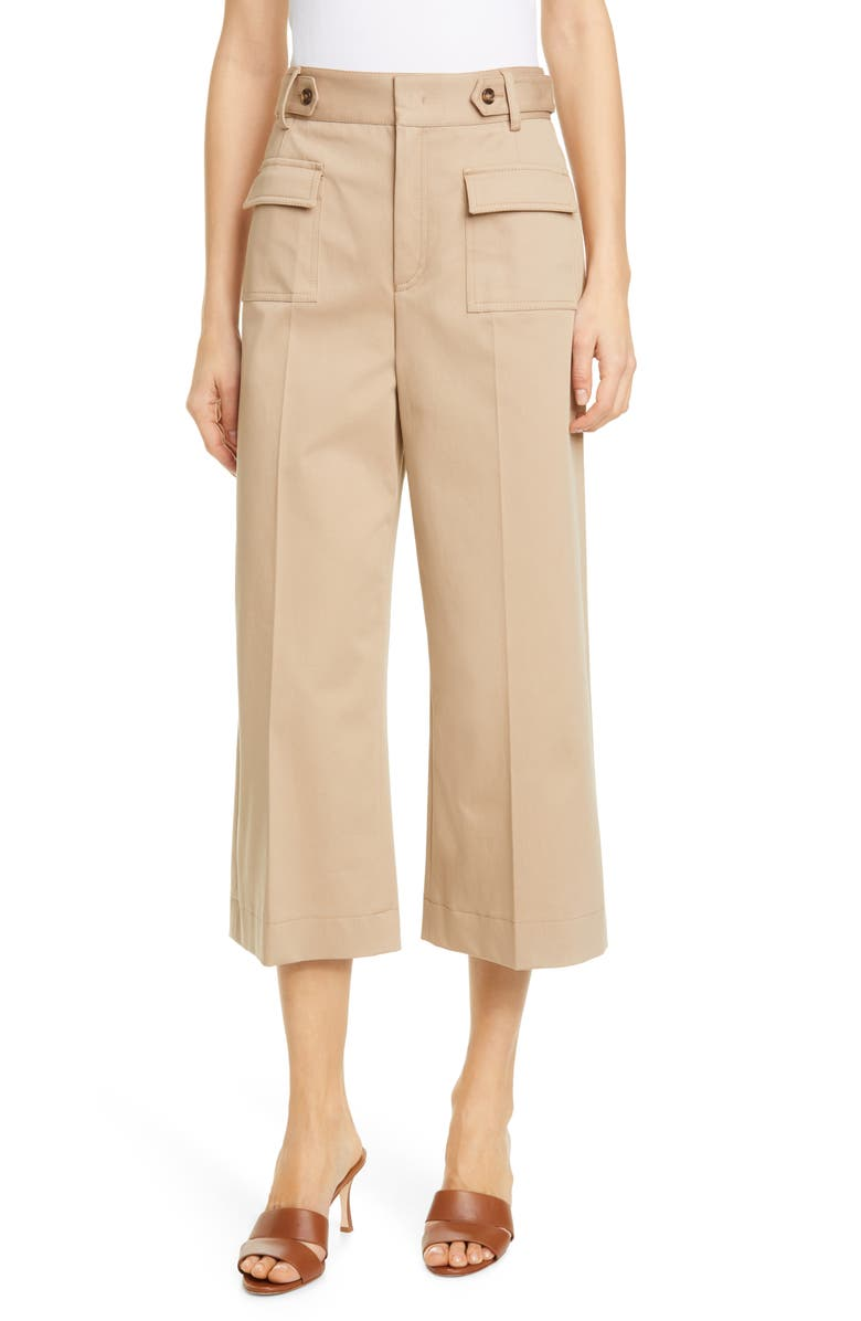 RED VALENTINO Patch Pocket Wide Leg Crop Pants, Main, color, BEIGE