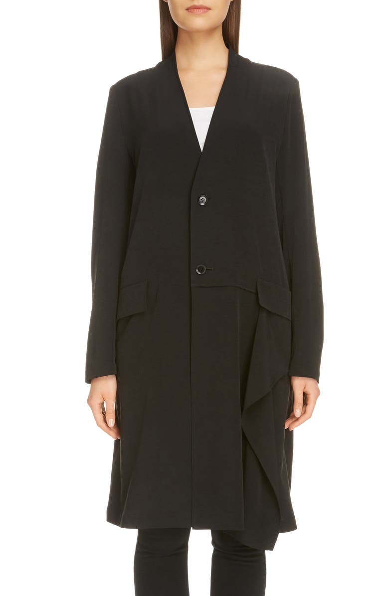 Y'S BY YOHJI YAMAMOTO Side Drape Crepe Jacket, Main, color, BLACK