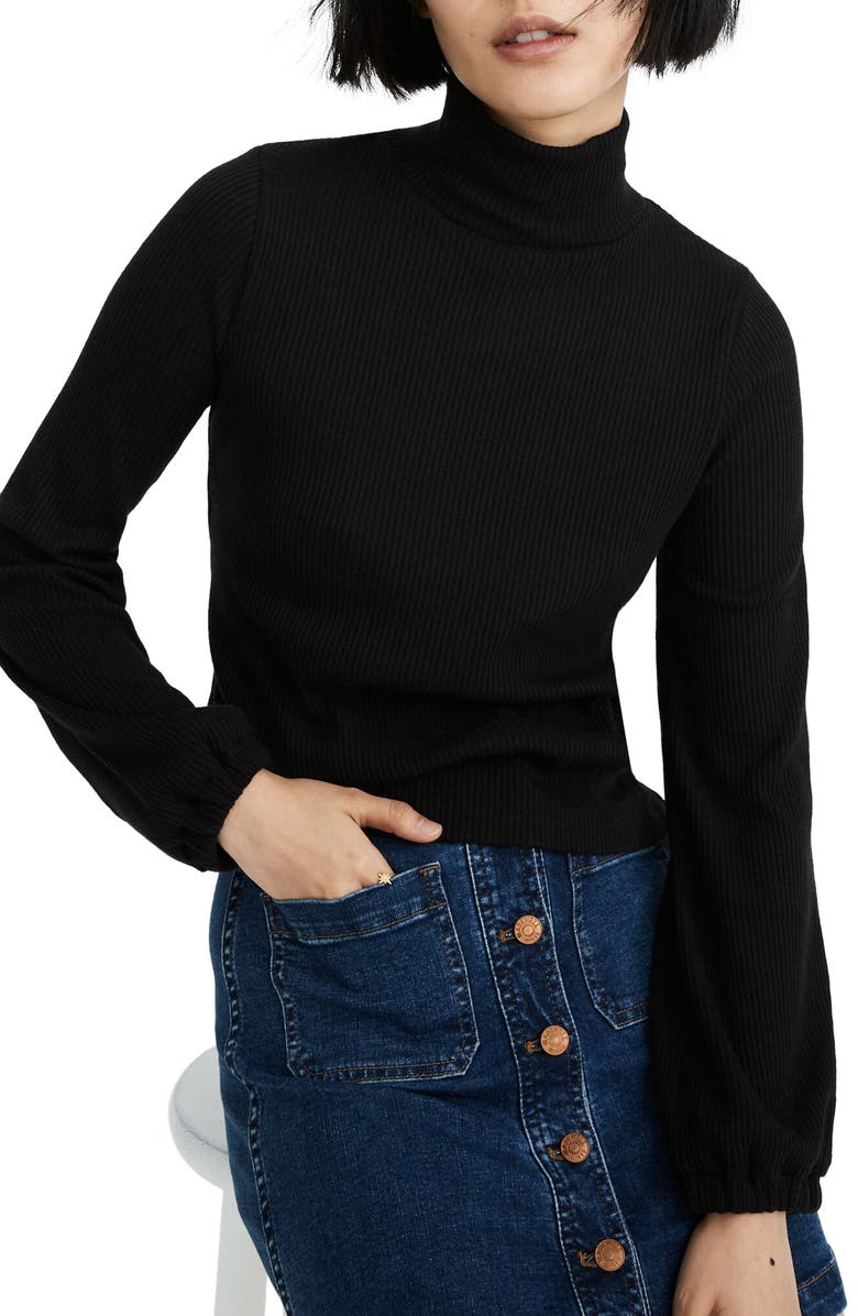 MADEWELL Bubble Sleeve Swing Turtleneck Top, Main, color, TRUE BLACK