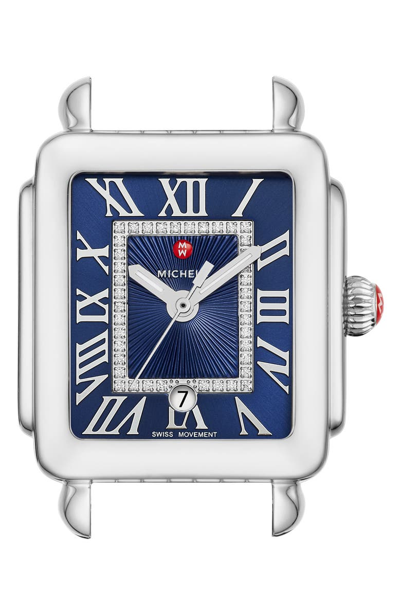 MICHELE Deco Madison Mid Diamond Dial Watch Head, 29mm x 31mm, Main, color, SILVER/ DEEP BLUE SUNRAY