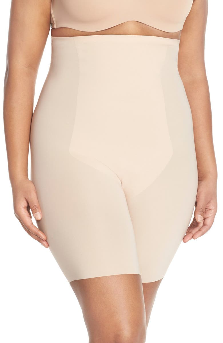 SPANX<SUP>®</SUP> Thinstincts<sup>™</sup> High Waist Mid-Thigh Shorts, Main, color, SOFT NUDE