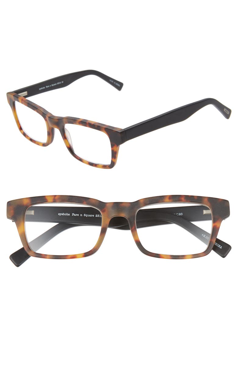 EYEBOBS Fare N Square 51mm Reading Glasses, Main, color, TORTOISE/BLACK