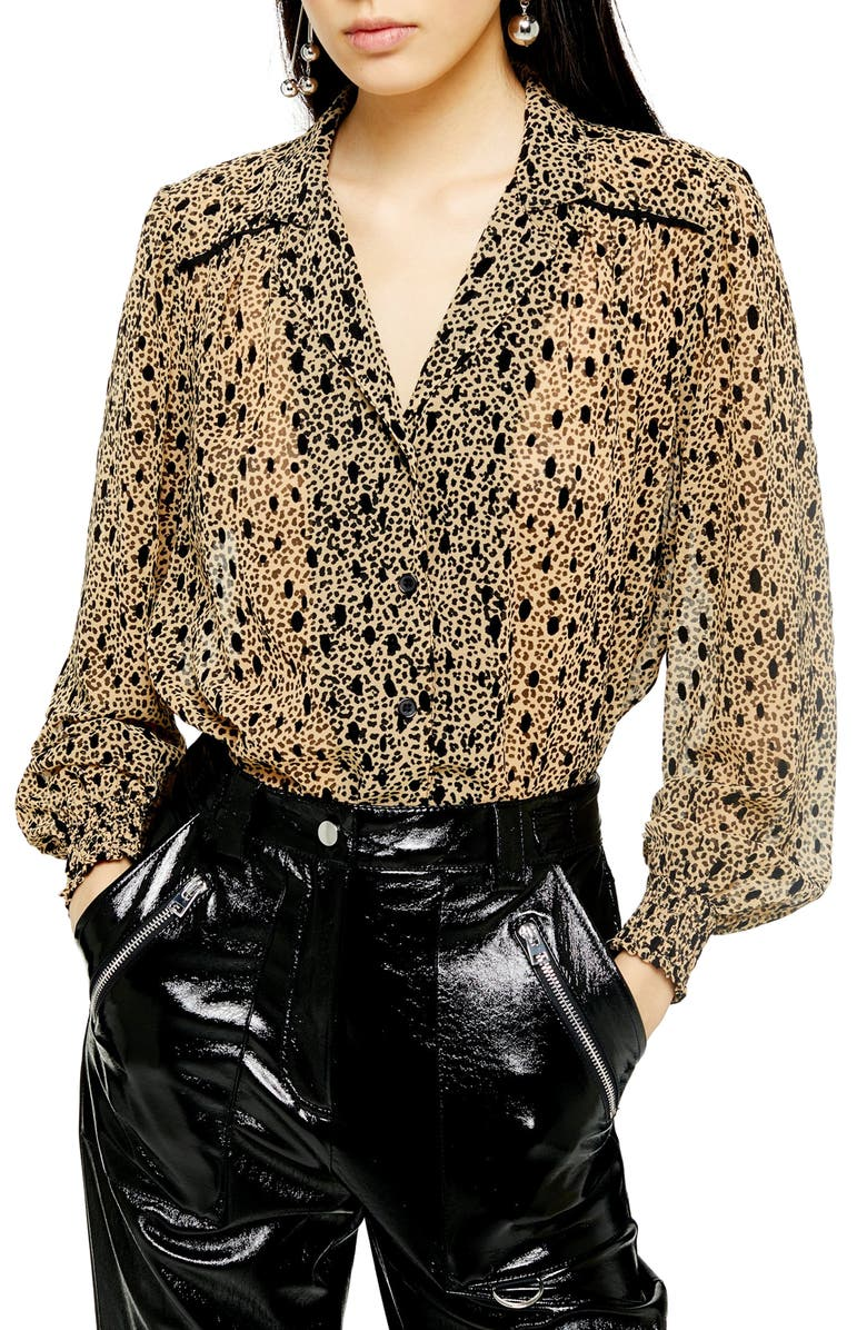 TOPSHOP Flocked Animal Print Blouse, Main, color, BROWN MULTI