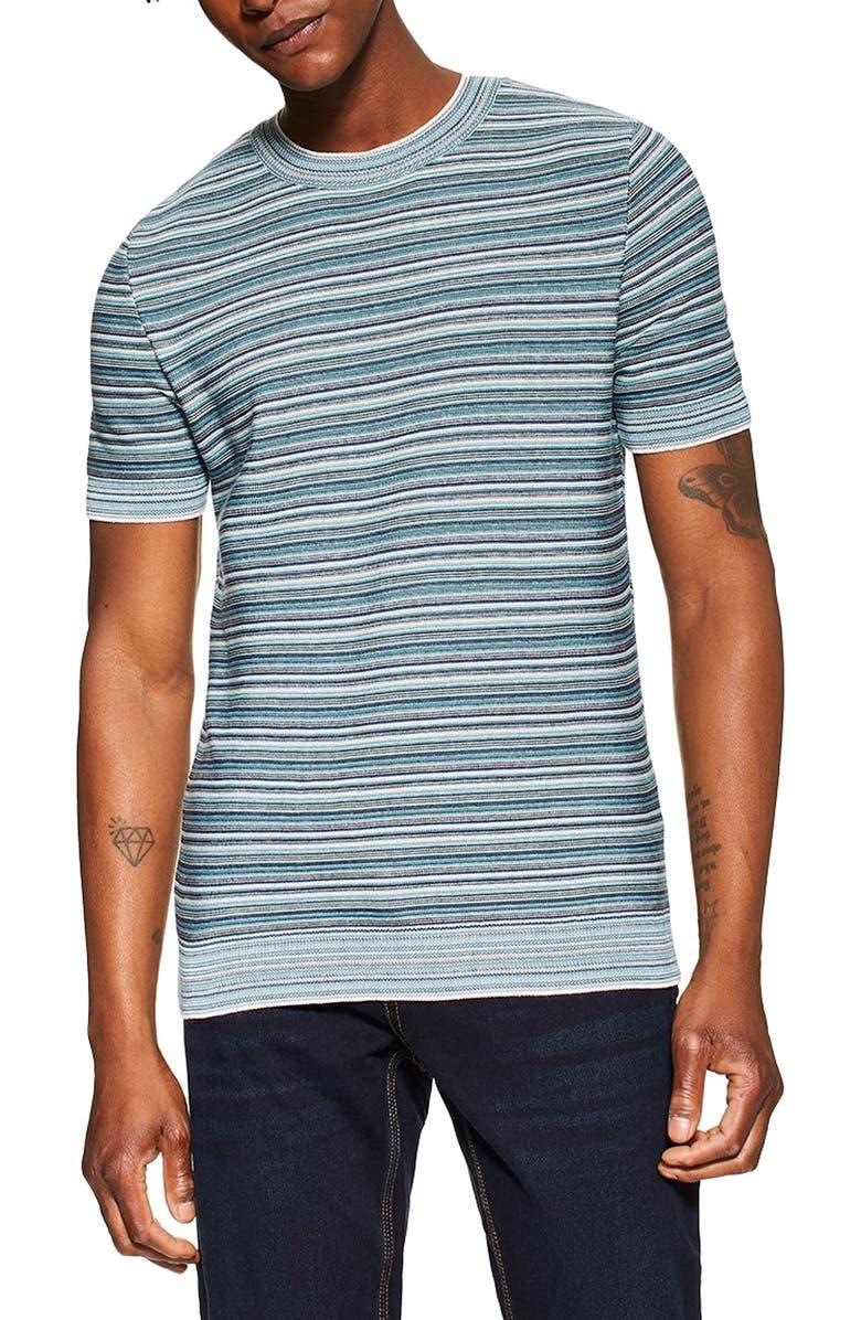TOPMAN Stripe Short Sleeve Sweater, Main, color, BLUE MULTI