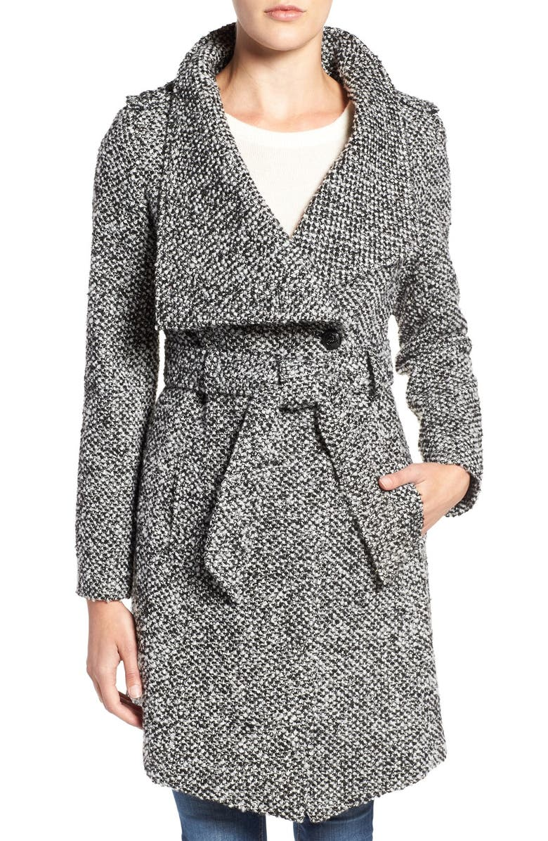 GUESS Water Resistant Asymmetrical Trench Coat, Main, color, 012