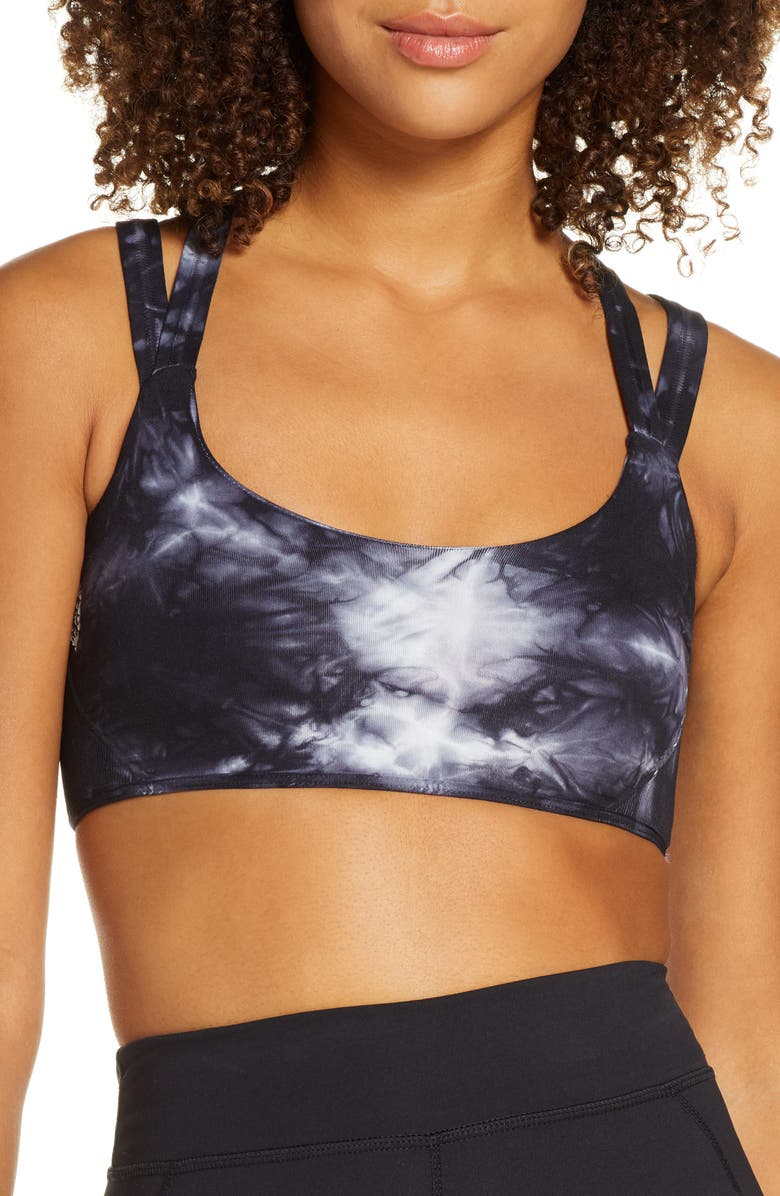 FREE PEOPLE FP MOVEMENT On the Radar Tie Dye Sports Bra, Main, color, BLACK