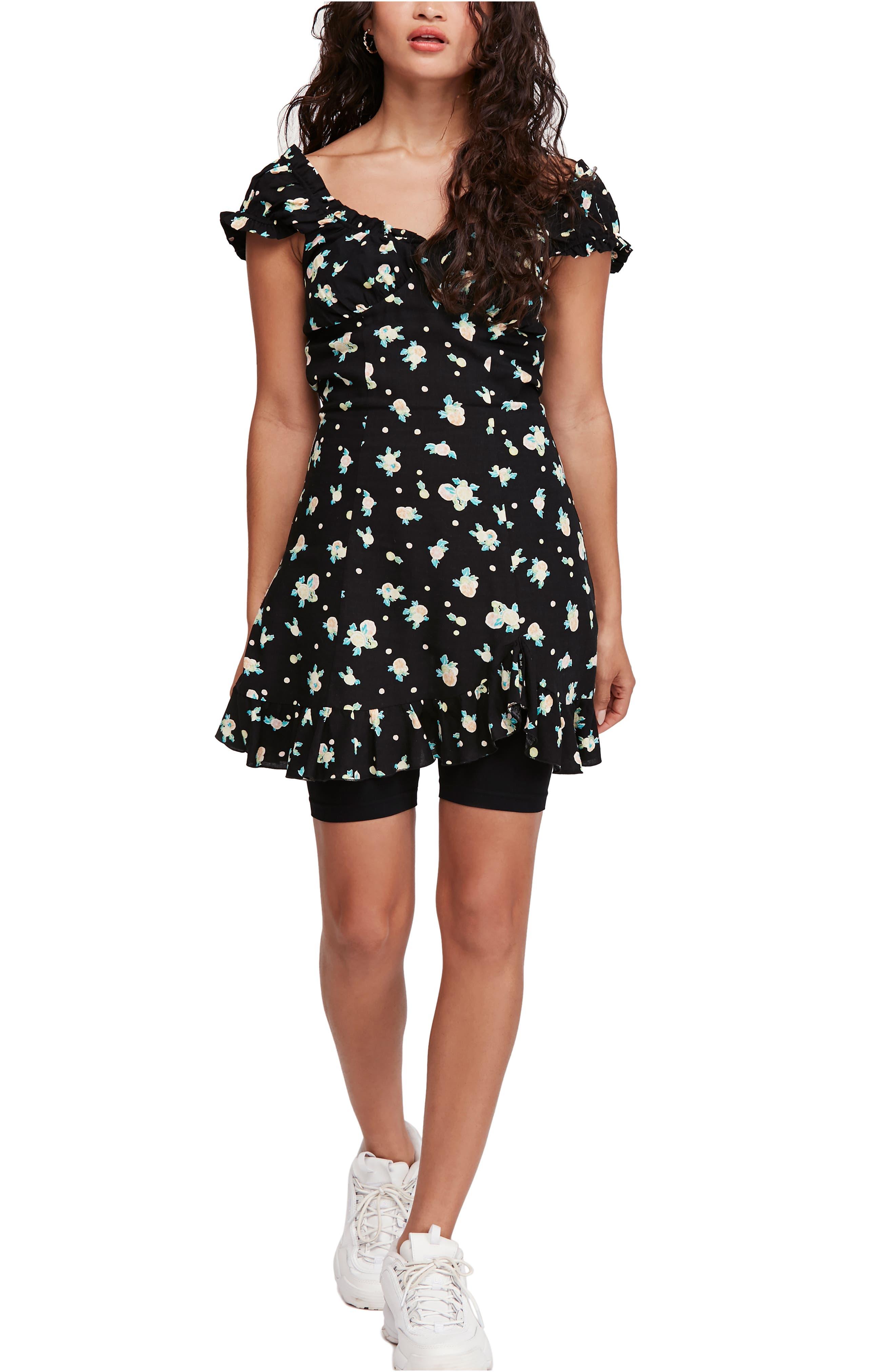 Free People Like A Lady Print Minidress, Black