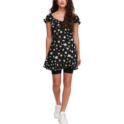 Free People Like A Lady Print Minidress, Black